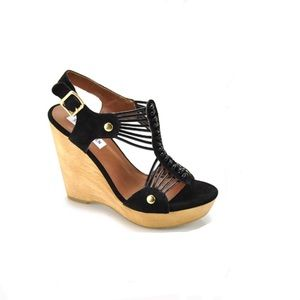 Steve Madden Tuscaan Leather Wooden Wedges
